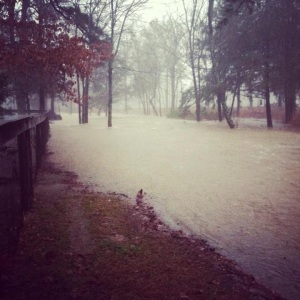 Flooding in Polk Co, Ark.,  on Saturday, Jan. 12. (Image courtesy James Reeves, Polk Co emergency services coordinator. )
