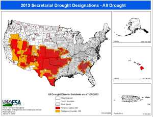 Drought counties map released Jan. 9. (Image courtesy USDA)