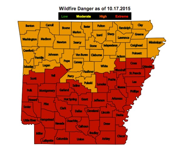 map of wildfire danger.