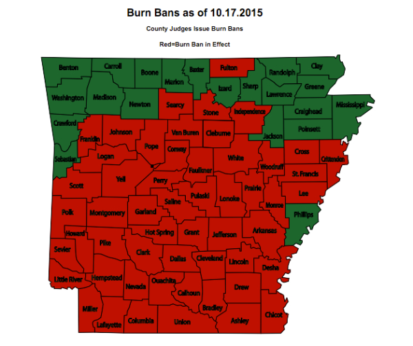 Burn ban map.
